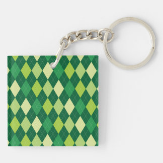 Green argyle pattern Double-Sided square acrylic keychain
