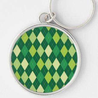 Green argyle pattern Silver-Colored round keychain