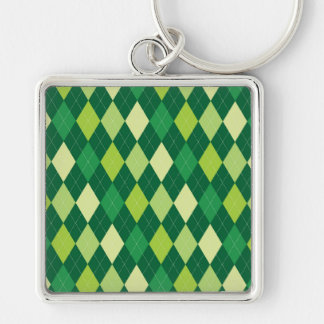 Green argyle pattern Silver-Colored square keychain