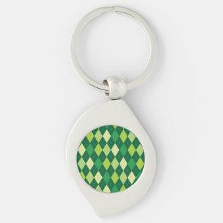 Green argyle pattern Silver-Colored swirl keychain