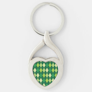 Green argyle pattern Silver-Colored twisted heart keychain