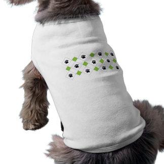 Green Argyle Paw Prints Dog Tshirt