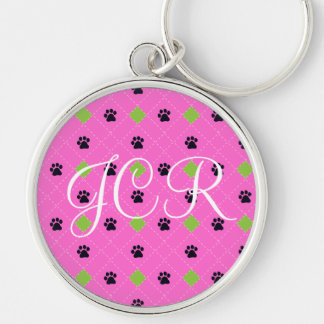 Green Argyle Paw Prints Silver-Colored Round Keychain