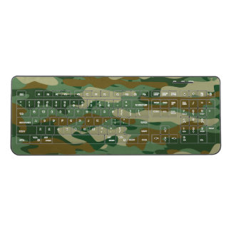 Green army camouflage pc gaming wireless keyboard