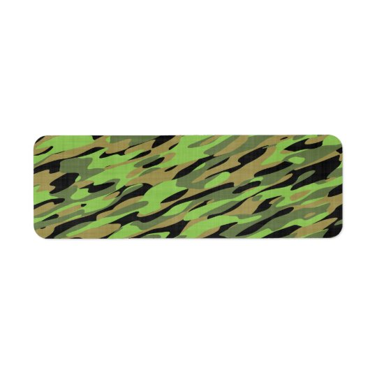 Green Army Camouflage Textured Return Address Label
