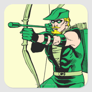 Green Arrow Shooting Arrow Square Sticker