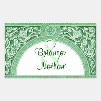 Green Art Deco Arch Scroll Wedding
