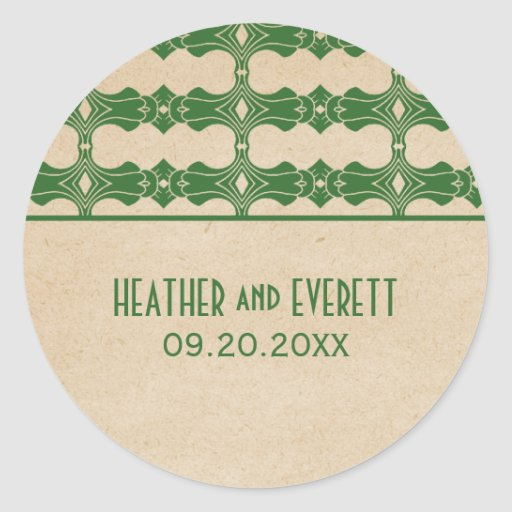 Green Art Deco Border Wedding Stickers