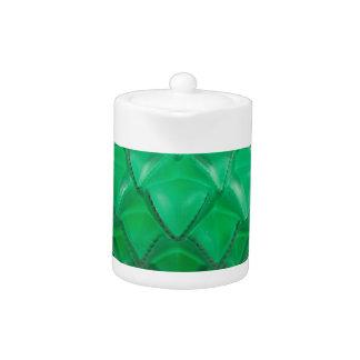 Green Art Deco carved glass vase.
