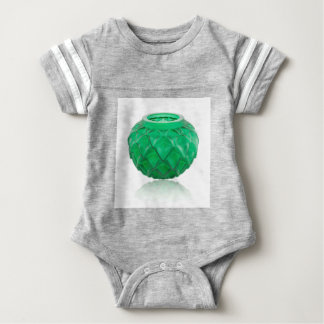 Green Art Deco carved glass vase. Baby Bodysuit
