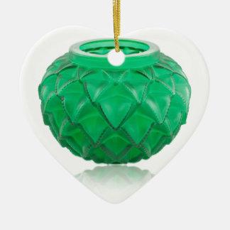 Green Art Deco carved glass vase. Ceramic Heart Ornament