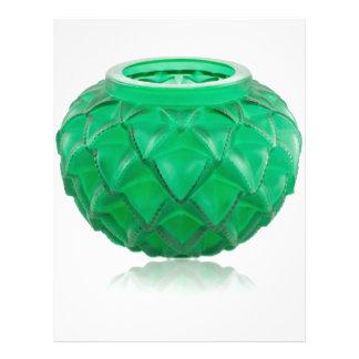 Green Art Deco carved glass vase. Custom Letterhead