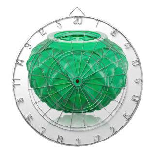 Green Art Deco carved glass vase. Dartboard