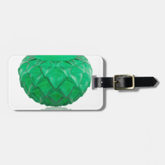 Green Art Deco carved glass vase. Luggage Tag