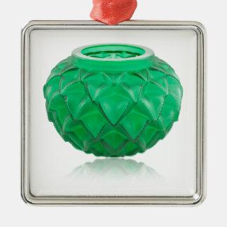 Green Art Deco carved glass vase. Metal Ornament