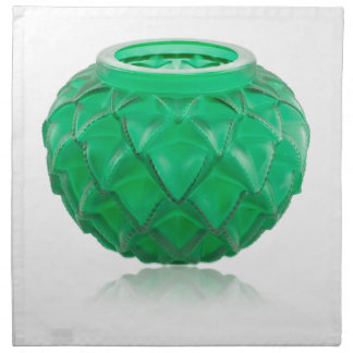 Green Art Deco carved glass vase. Napkin