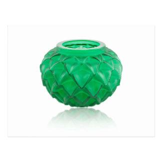 Green Art Deco carved glass vase. Postcard