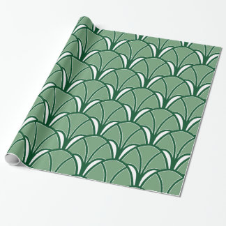 Green Art Deco Fan Wrapping Paper