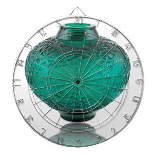 Green Art Deco glass vase depicting leaves. Dartboard