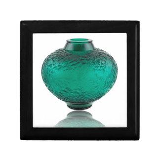 Green Art Deco glass vase depicting leaves. Gift Box