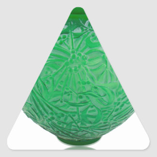 Green Art Deco glass vase depicting leaves. Triangle Sticker