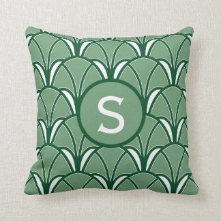 Green Art Deco Monogram Throw Pillow