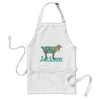 Green Art Goat on Things Design with your Name Standard Apron