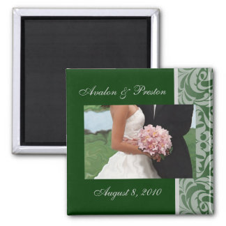 Green Artistic Damask Save The Date Magnet