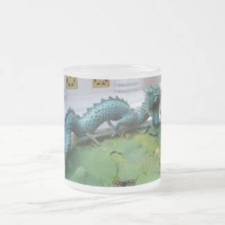 Green Asian Dragon 10 Oz Frosted Glass Coffee Mug