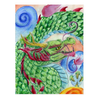 Green Asian Dragon Postcard