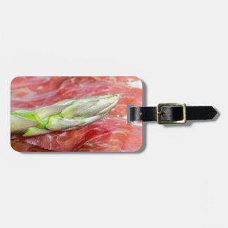 Green asparagus with ham macro bag tag