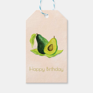 Green Avocado Fruit in Watercolors Happy Birthday Gift Tags
