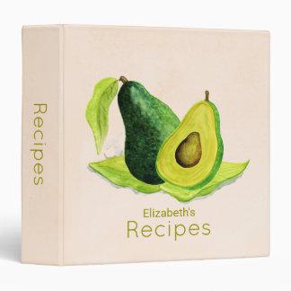 Green Avocado Fruit in Watercolors Recipe Binders