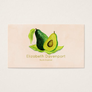 Green Avocado Still Life Fruit in Watercolors Business Card