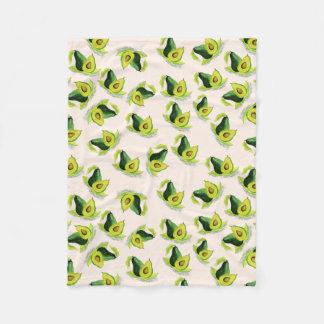 Green Avocados Watercolor Pattern Fleece Blanket