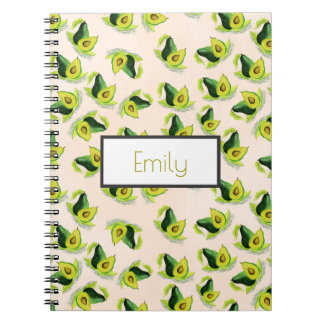 Green Avocados Watercolor Pattern Personalized Spiral Notebook