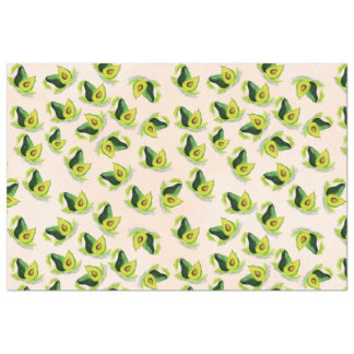Green Avocados Watercolor Pattern Tissue Paper