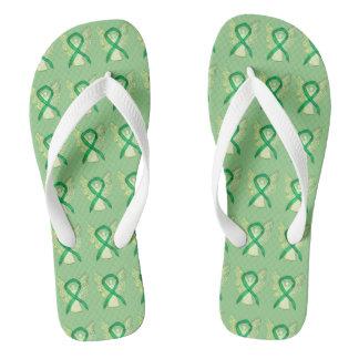 Green Awareness Ribbon Angel Custom Flip Flops