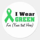Green Awareness Ribbon Classic Round Sticker