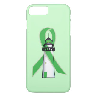 Green Awareness Ribbon with Lighthouse of Hope iPhone 7 Plus Case