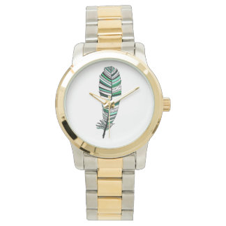 Green Aztec Feather Wrist Watches