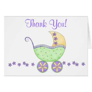 Green Baby Buggy Carriage Thank You Card