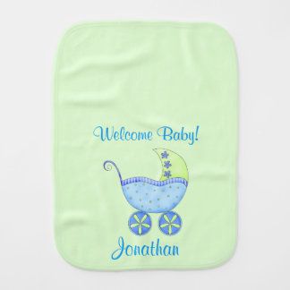 Green Baby Buggy Welcome Baby Name Personalized Burp Cloth