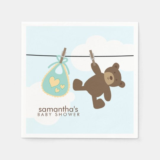 Green Baby Clothesline and Teddy Bear Disposable Napkin