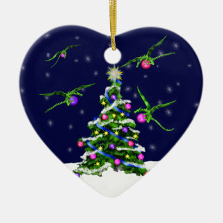 Green Baby Dragons Encircle a Christmas Tree Ceramic Heart Ornament