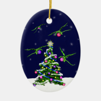Green Baby Dragons Encircle a Christmas Tree Ceramic Oval Ornament