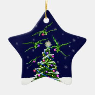 Green Baby Dragons Encircle a Christmas Tree Ceramic Star Ornament