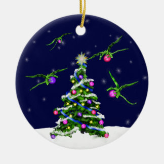 Green Baby Dragons Encircle a Christmas Tree Round Ceramic Ornament