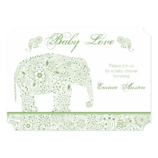 Green Baby Elephant Shower Invitation