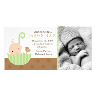 Green Baby in Umbrella Birth Announcements Customized Photo Card